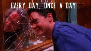 Agent Cooper smashes his face against a mirror, bob is reflected