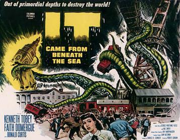 Movie Poster for It Came From Beneath The Sea depicting a crowd running way from gigantic tentacles that smash buildings in the background.