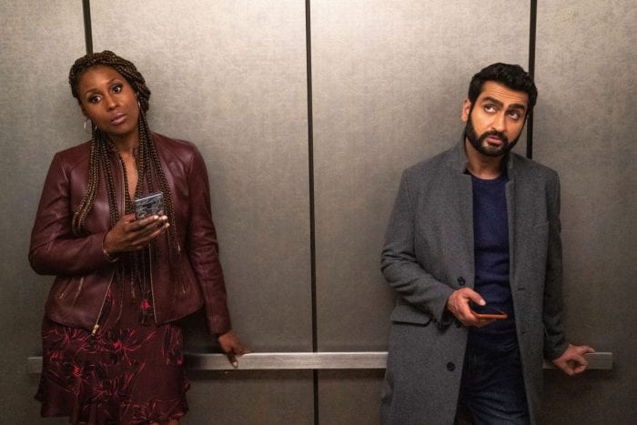 Leilani and Jibran ignore each other in an elevator.