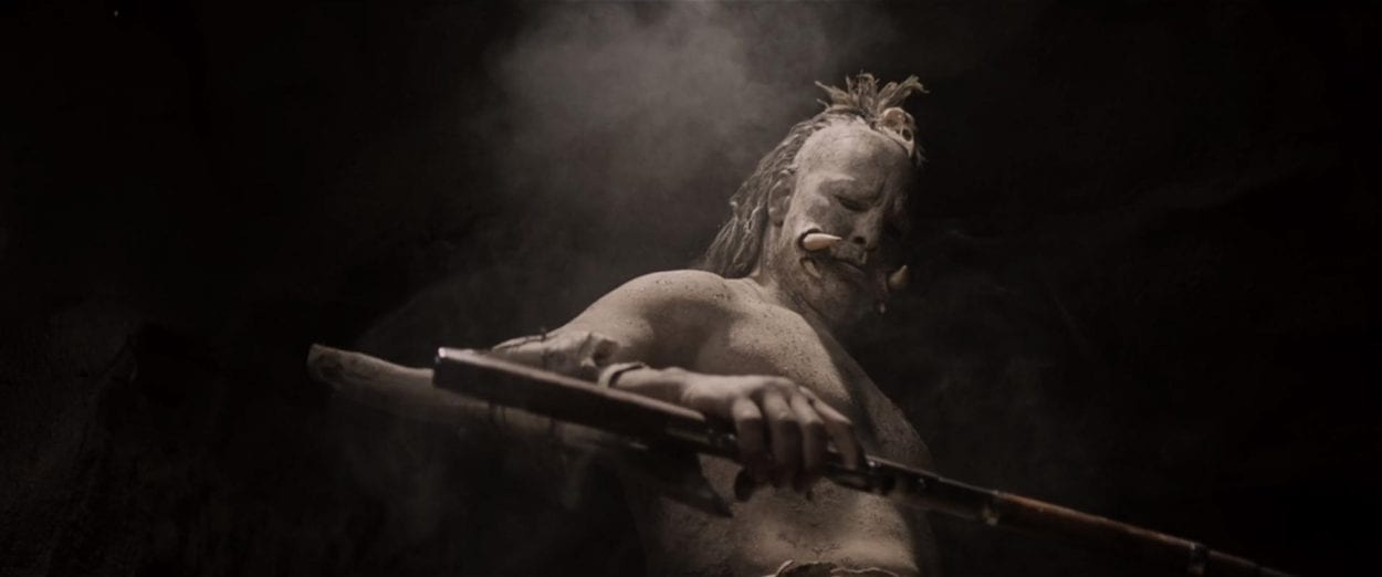 A troglodyte examines his weapon in Bone Tomahawk.