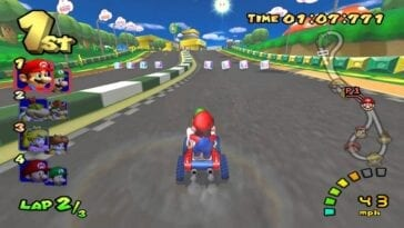 Mario and Luigi racing in Mario Kart Double Dash for GameCube