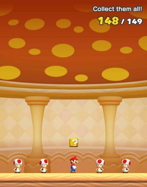The reward screen for Remix 10 in Super Mario Run, showing a collection of 148/149 items