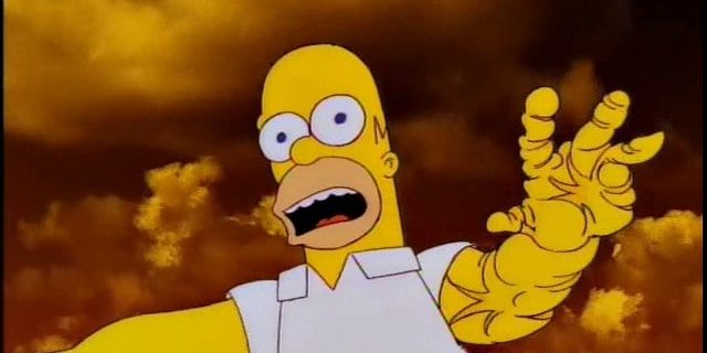 In his hallucination, Homer stands against a strange colored sky, disoriented, his arm falling apart