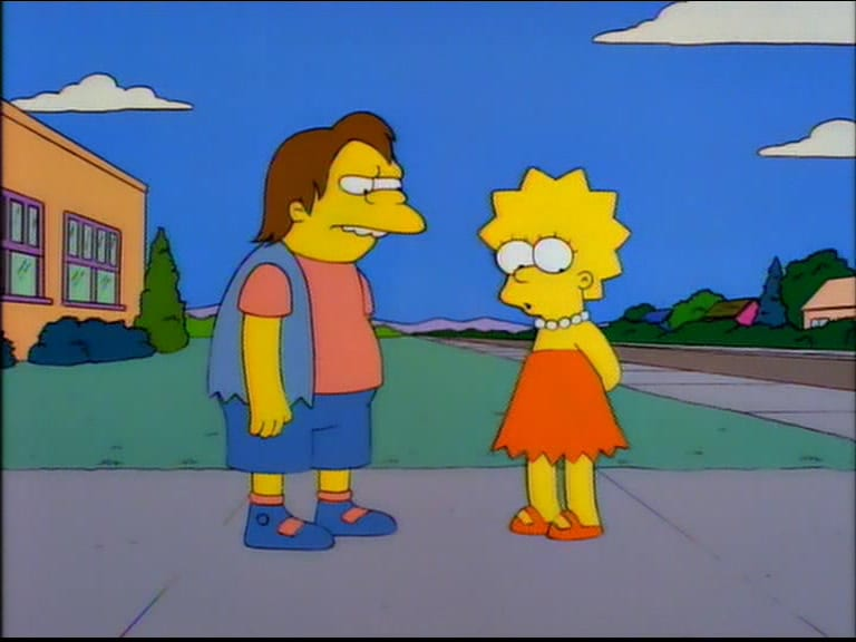 Lisa stands awkwardly beside Nelson outside the school