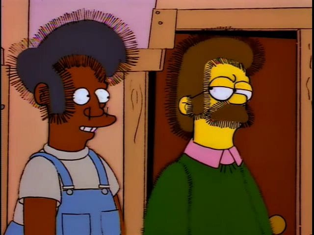 Apu and Ned's hair stands on end from static electricity in Ned's rebuilt house