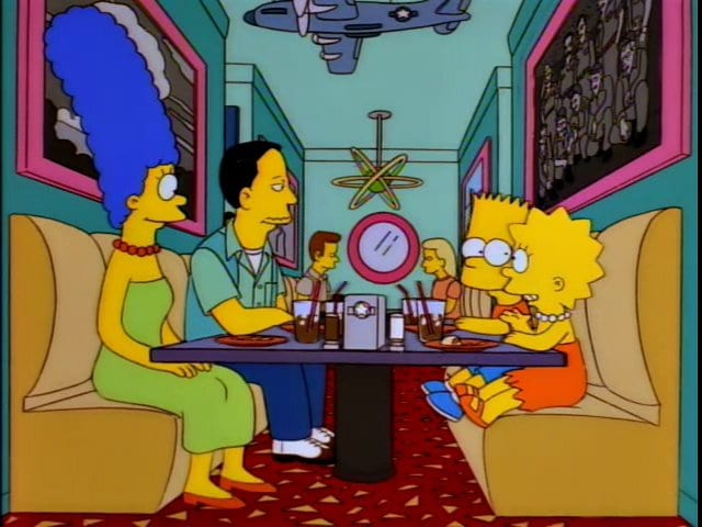 John, Marge, Bart and Lisa have a meal at a diner