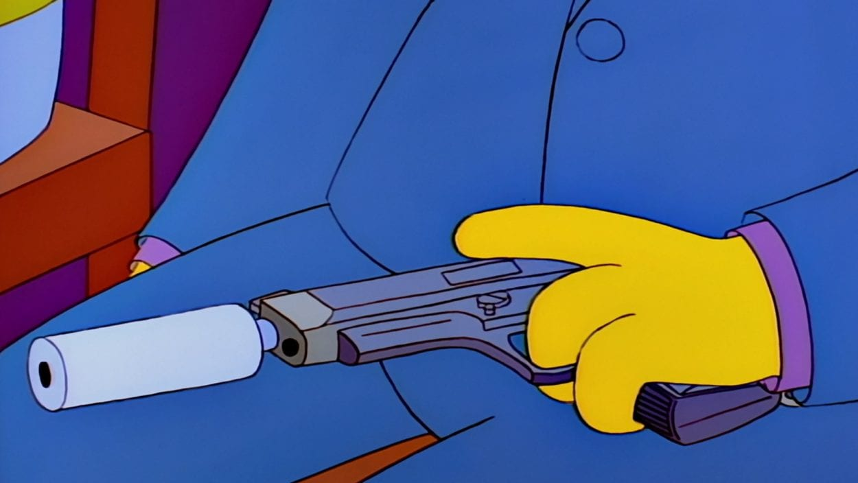 Skinner stroking his gun