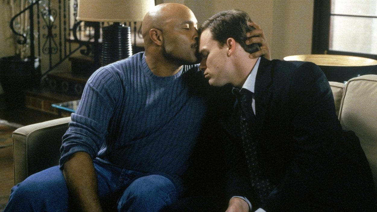 Keith embraces David in Six Feet Under
