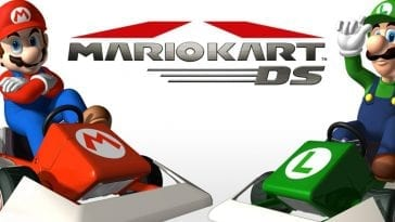 Mario Kart DS with Mario in a red race car with his arms crossed on the left and Luigi in a green race car with one hand on his hat on the right