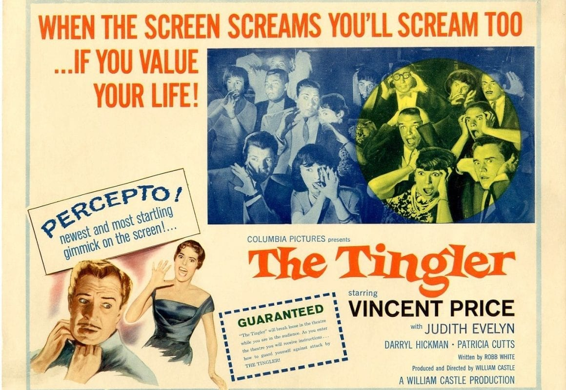 Advertisement for The Tingler with gimmicky promotional material.