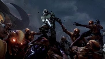 The classic image of Doomguy fighting off hoards of the undead from the original game cover is remade in beautiful detail during the credits of Doom 2016