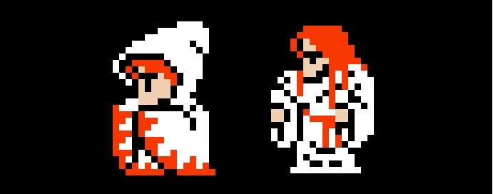 White Wizard transforms from a hooded mage, to a long haired ginger Jesus type.
