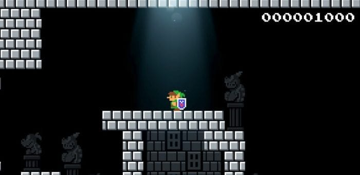 A light shines down on 8 bit Link in a Super Mario 1 castle.
