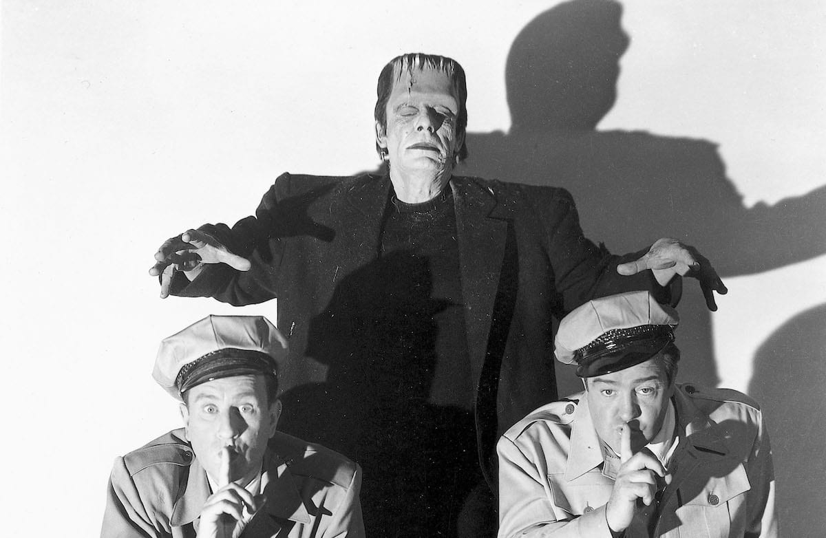 Frankenstein creeps up behind Abbot and Costello