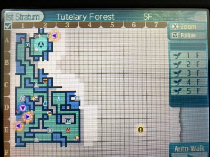 A map from one of the Etrian Odyssey games partially filled in.