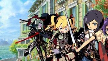 Various character classes from Etrian Odyssey IV stand in a line with artwork of a city behind them.