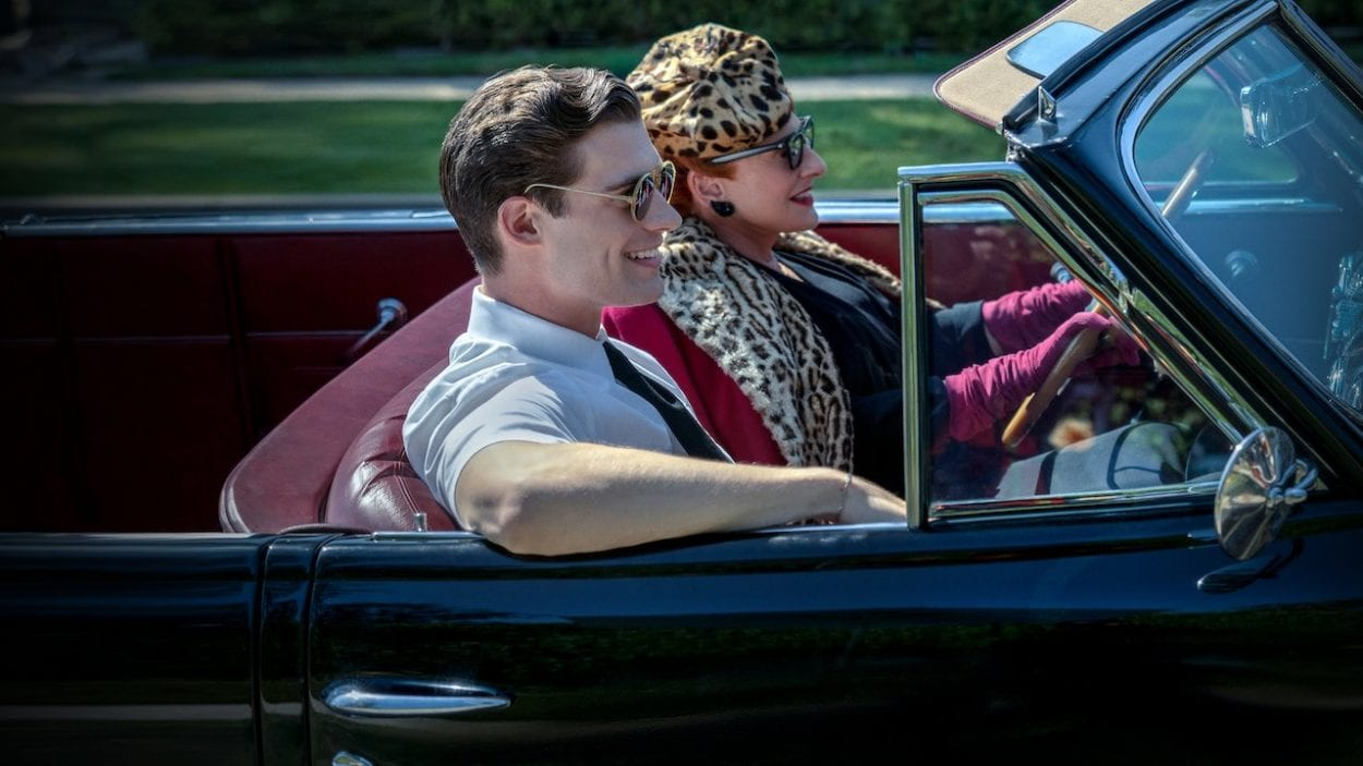 A young man rides in a car with a woman in Hollywood on Netflix