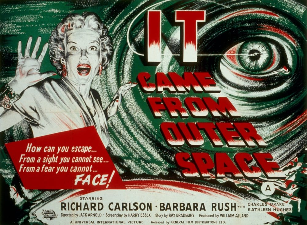 Movie poster for It Came From Outer Space with eye in the shape of a UFO and a screaming white woman.