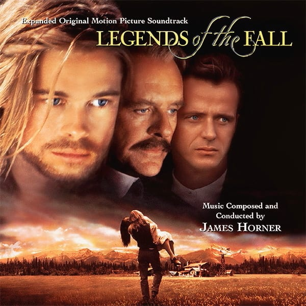 The cover of the Legends of the Fall soundtrack features a man carrying a woman with the faces of the main actors above on a black background