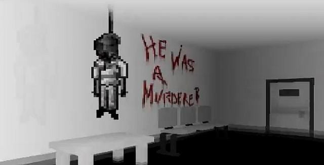 "A body hangs from the ceiling in Into the Gloom. ""He was a murderer?"" is written on the wall in blood."
