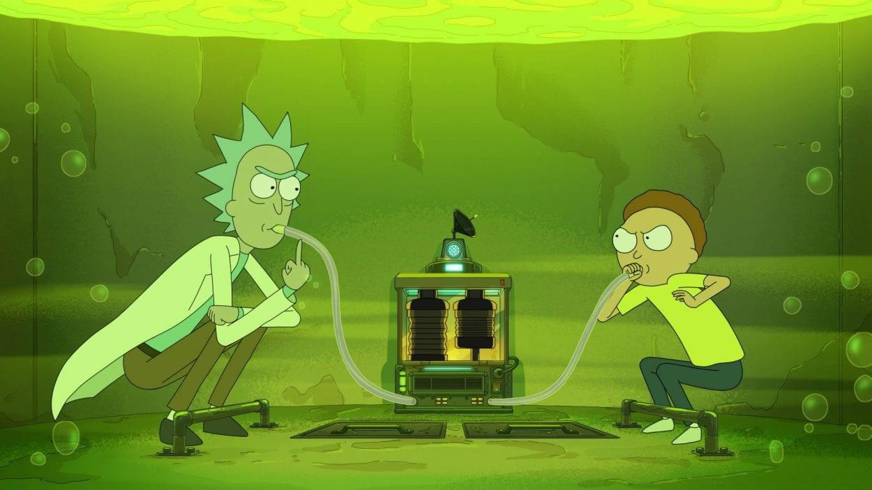 Rick and Morty utilize breathing tubes while waiting at the bottom of the vat of fake acid.