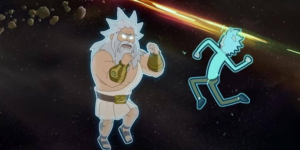 Rick Sanchez prepares to battle Zeus in a fistfight in space.