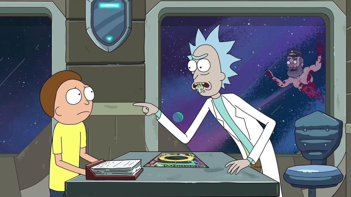 Rick insults Dan Harmon's Story Circle to Morty aboard the train while a dismembered Tickets Please Guy floats outside.