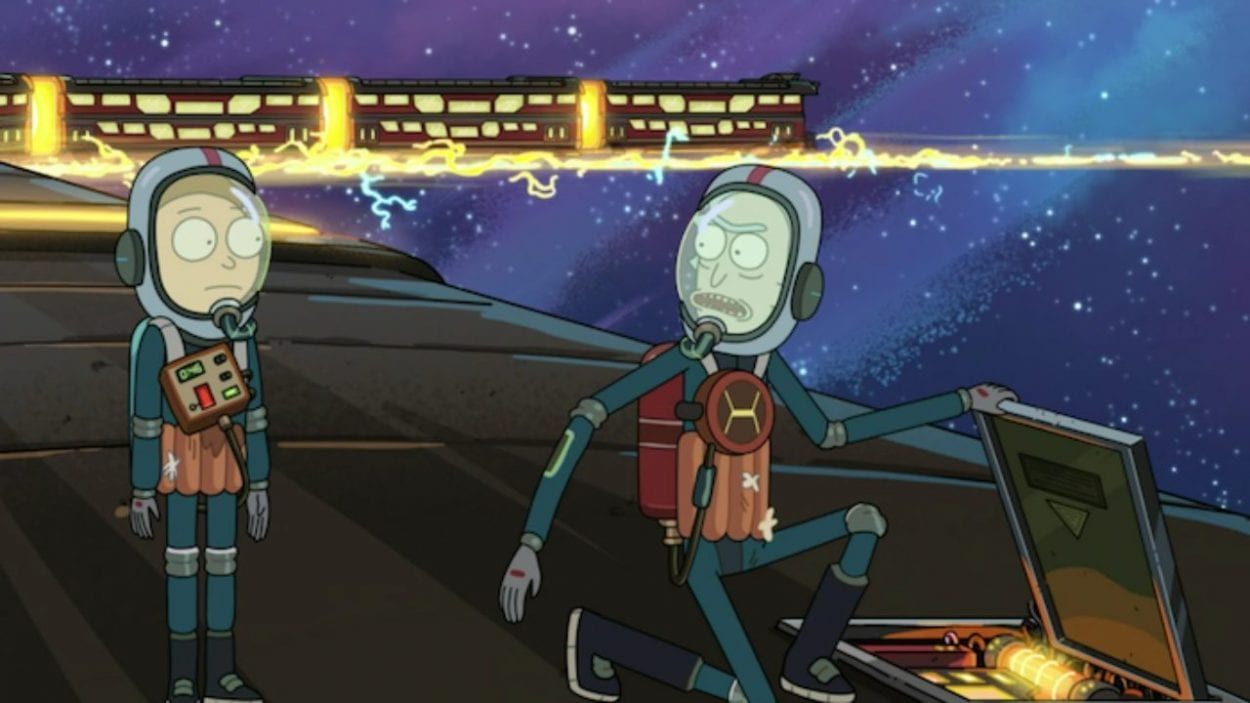 Rick and Morty, in space suits on top of the Story Train, learn about the Bechdel test in order to break the Thematic Seal.