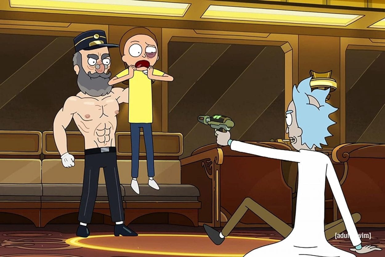 Rick points a gun at Morty and Tickets Please Guy
