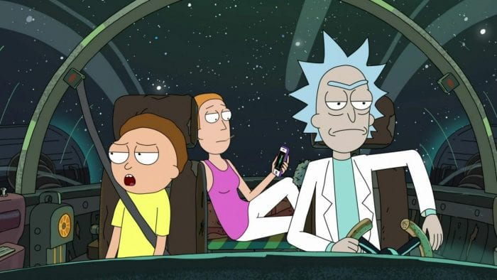 Rick, Morty and Summer sit in the cockpit of Rick's ship as they fly through space noncholantly.