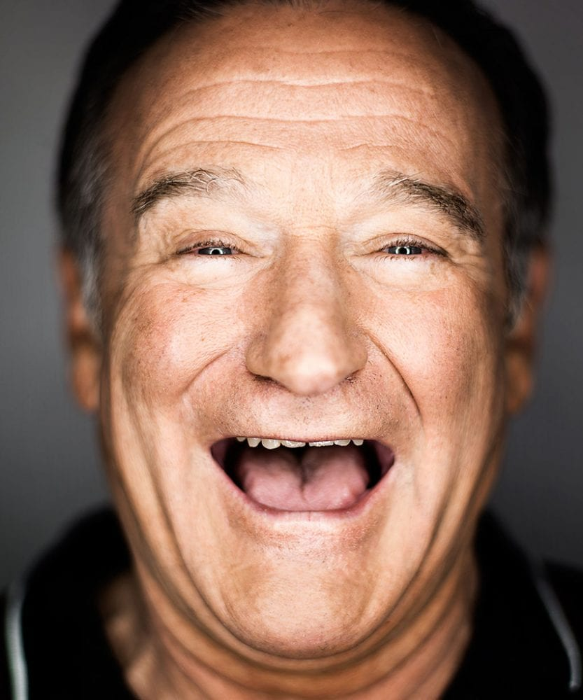 Robin Williams face, laughing