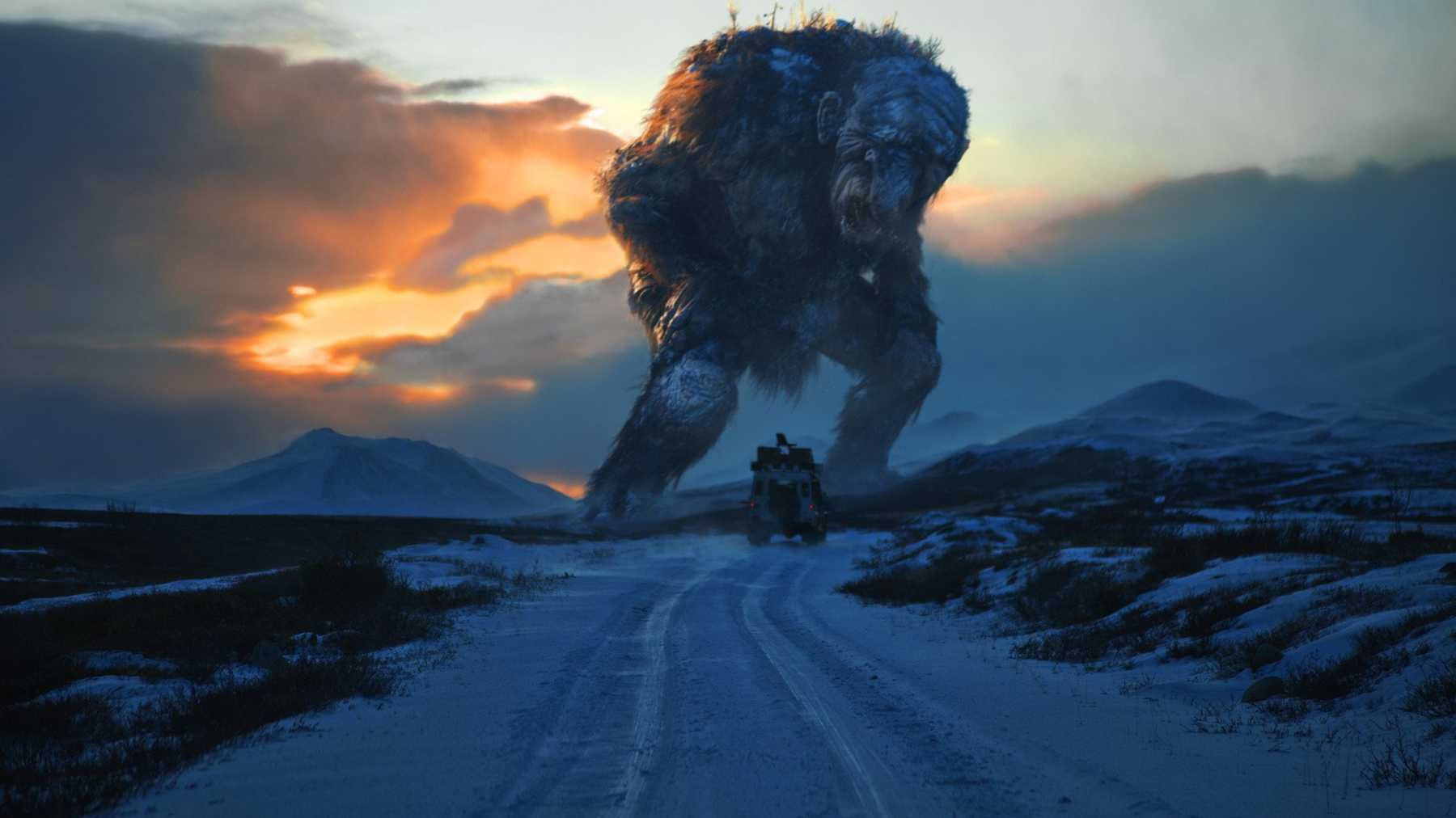 Hans drives his Land Rover along the road in the direction of the gigantic Jotnar
