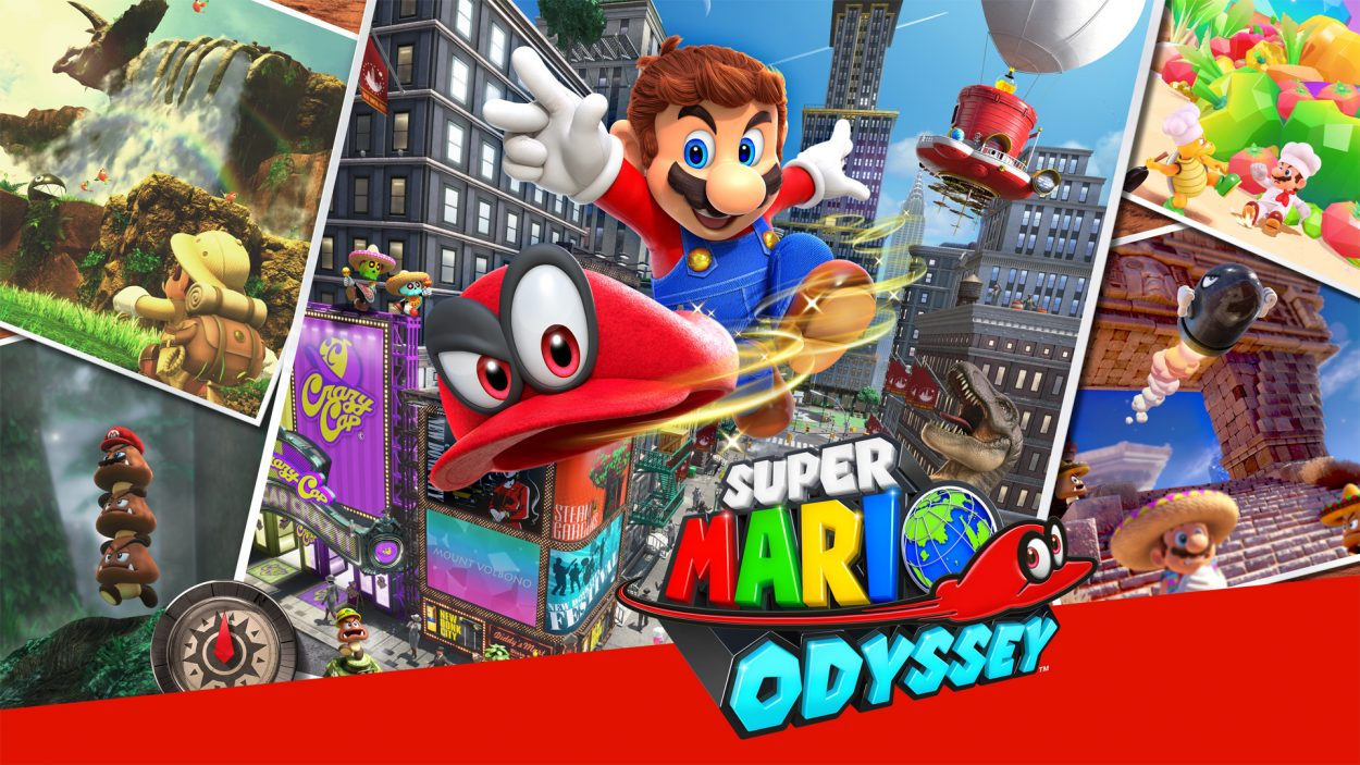 "Title art for the game, with mario throwing his hat ""cappy"" at the player, in front of a back drop of three different levels in the game"