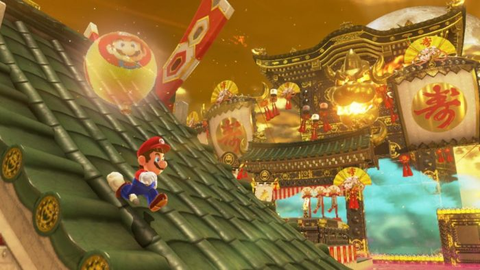 Mario running down the roof of a building in a later-game level