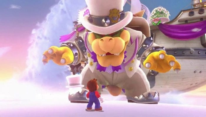 Bowser in a tuxedo towering over Mario. They are about to battle one another