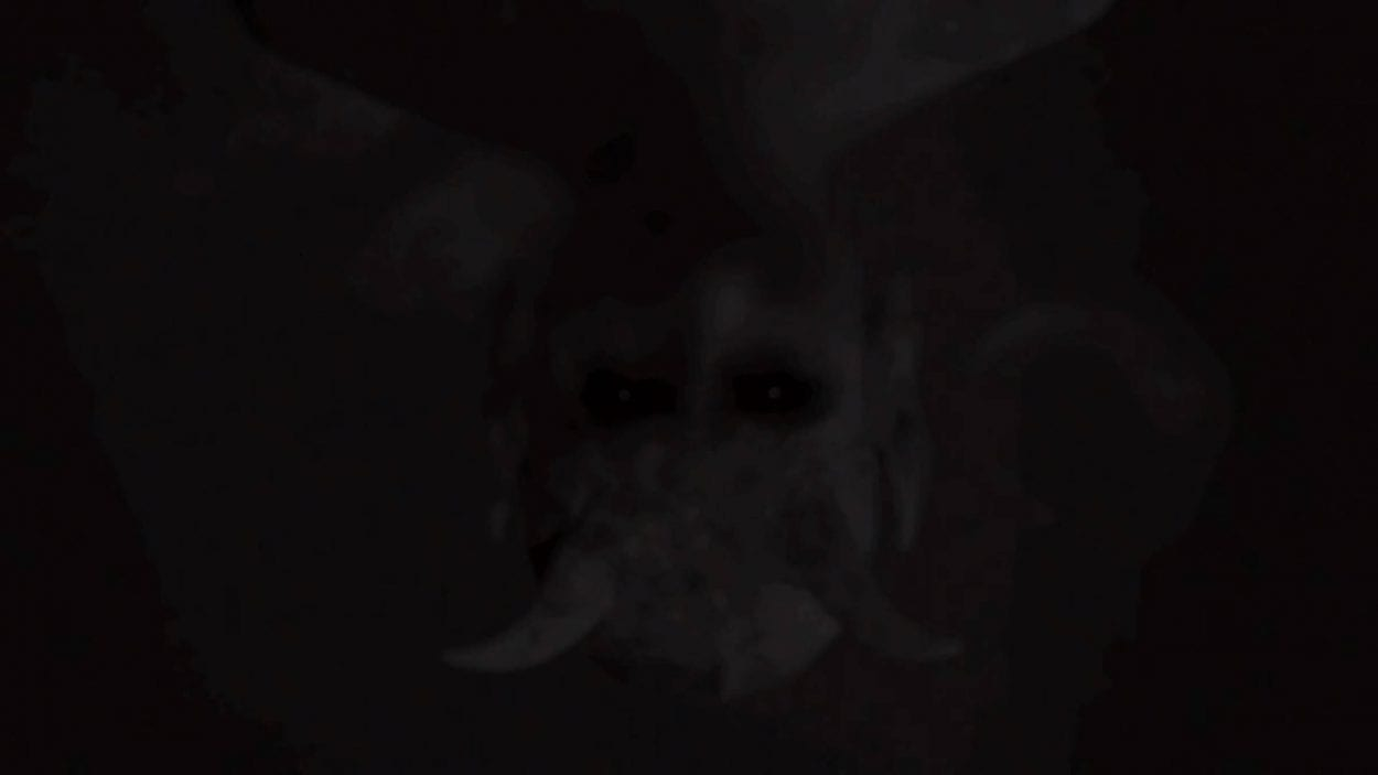 ghostly imaged of a horned devil upside down
