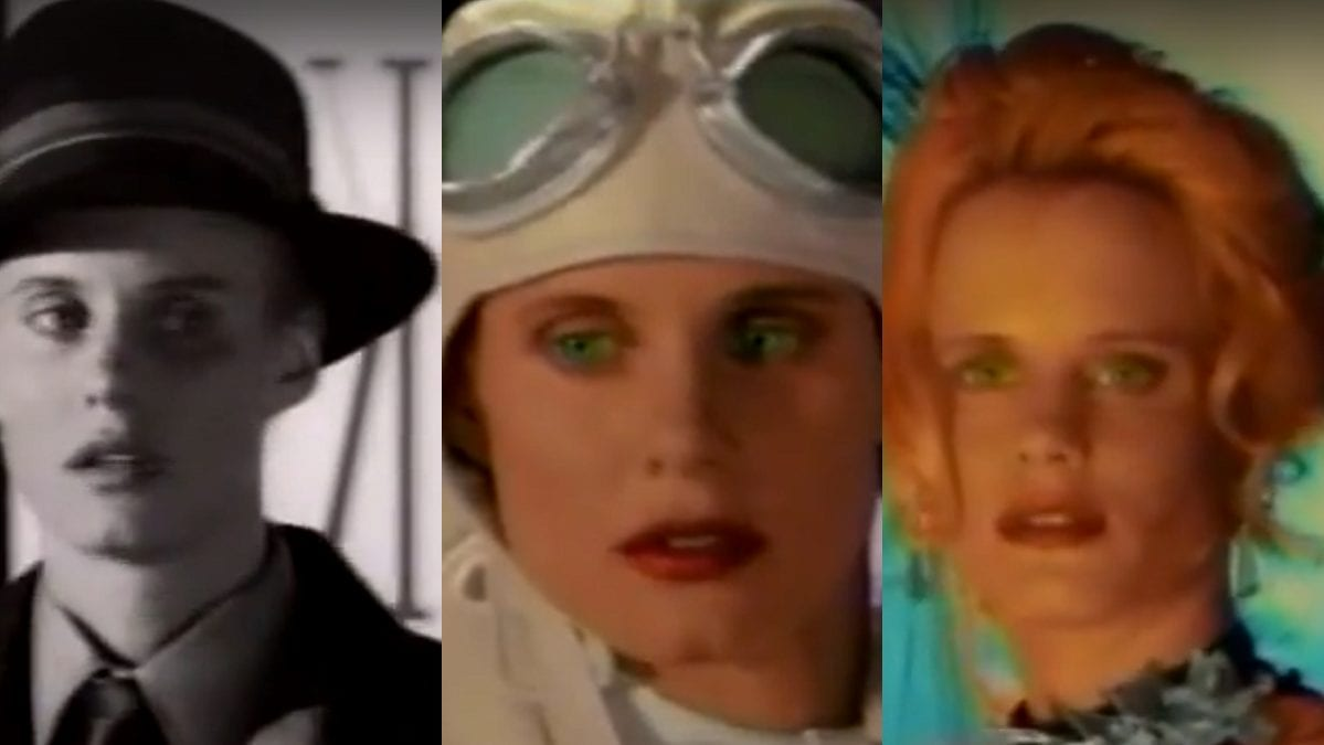 VR.5 - Three head shots of CyberSyd, as a gangster, pilot and Bond girl