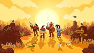 The four playable characters, The Gunslinger, The Brother, The Indian, and The Sister all stand on a dusty trail while the sun sets behind them