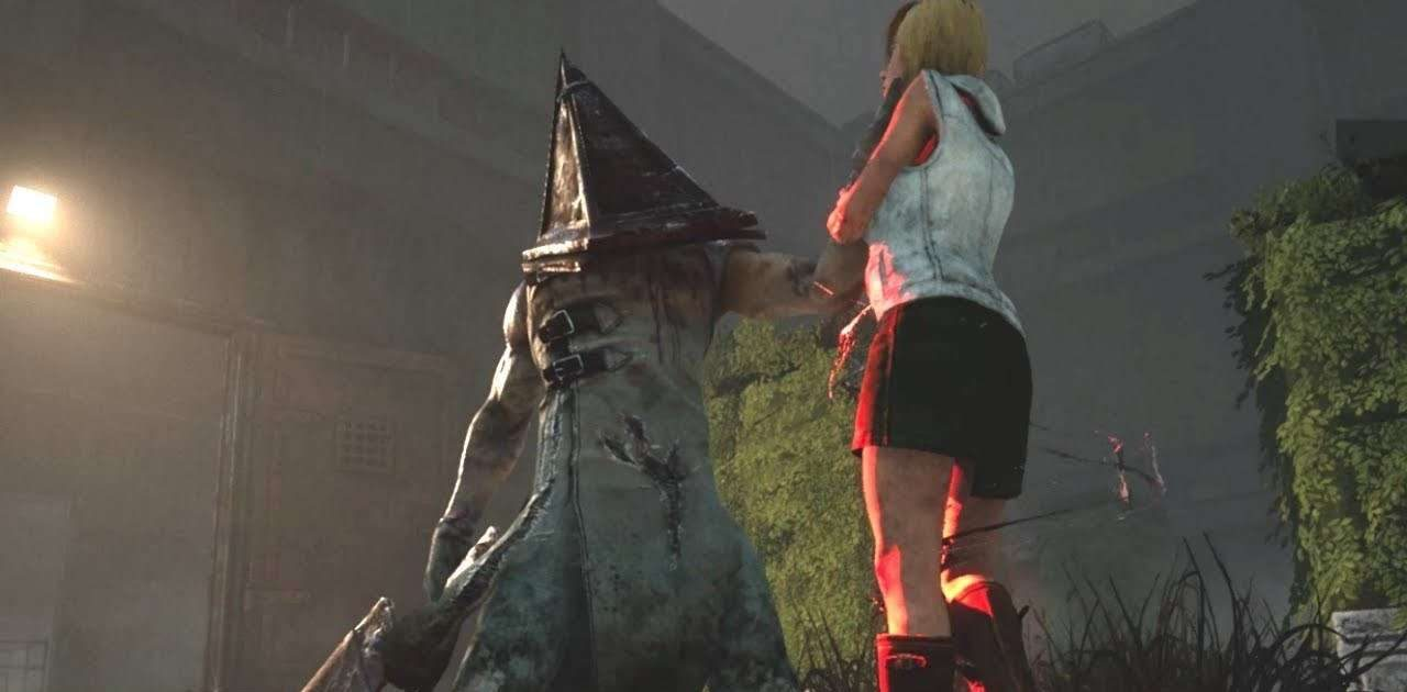 Heather Mason is confronted by the infamous Pyramid Head, who literally has a pyramid for a head.
