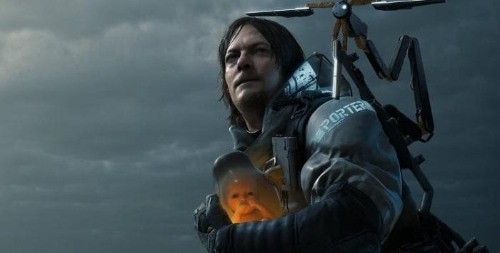 Sam Porter Bridges, played by Norman Reedus, carries a baby in a jar.