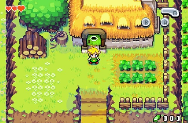 Link stands outside a house in Minish Cap.