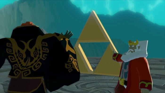 Ganondorf reaches for the Triforce while the King of Hyrule makes a wish on it.