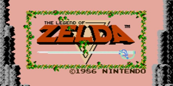 Title screen for The Legend of Zelda