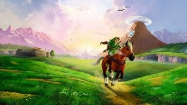 Link rides Epona through Hyrule Field