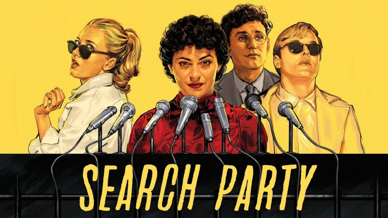 A sketch of the cast of Search Party (Portia, Dory, Drew, and Elliott) standing in front of press microphones with yellow Search Party below them and yellow surrounding them.