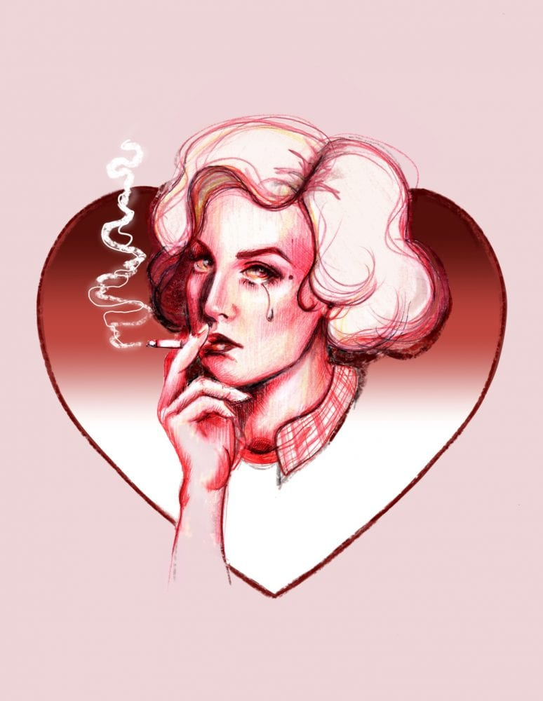 A Twin Peaks art illustration of Audrey Horne inside a heart, smoking a cigarette with a tear running down her cheek
