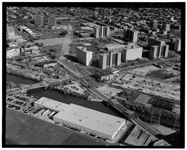 Aerial view of Chicago near the Cabrini-Green Housing Complex