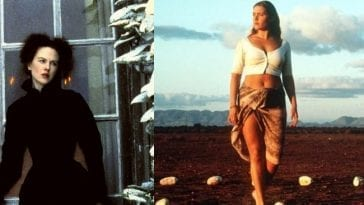 Left picture: Isabel Archer (Nicole Kidman) stares off into the distance while her hand is on a door latch; Right: Ruth Barron (Kate Winslet) walks out in the desert, stepping on white stones in Holy Smoke)