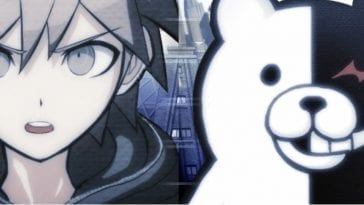 The main character of Danganronpa and its antagonist Monokuma, a bear with a white half and a black half.