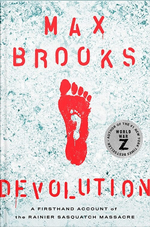 Book cover for Devolution depicting small white footprint enclosed within much larger red footprint.